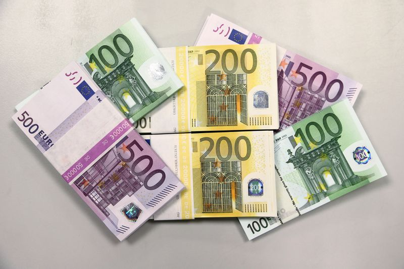 Euro currency bills are pictured at the Croatian National Bank in Zagreb