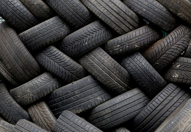 FILE PHOTO: Used tyres are seen in a container at a recycling park near Brussels