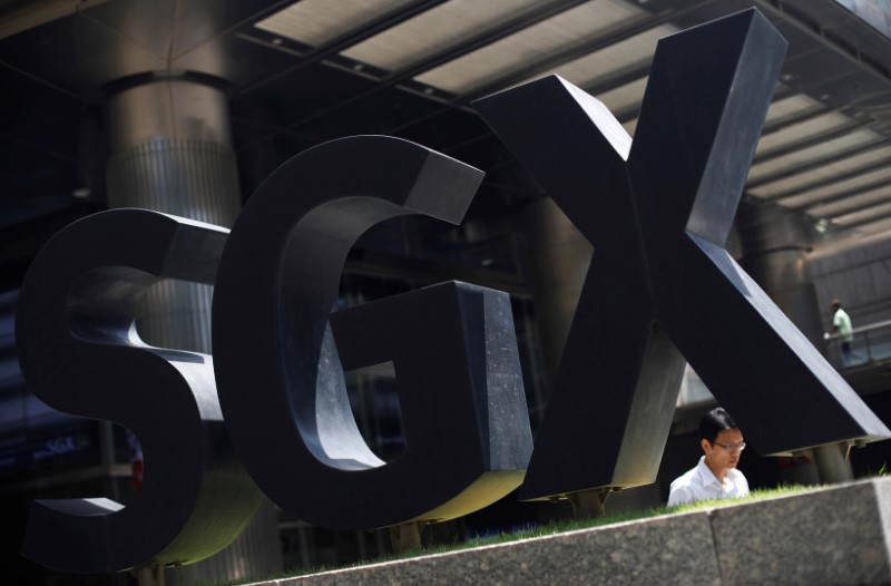 An SGX sign is pictured at Singapore Stock Exchange