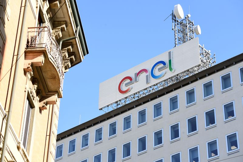 FILE PHOTO: A logo of Italian multinational energy company Enel is seen in Milan