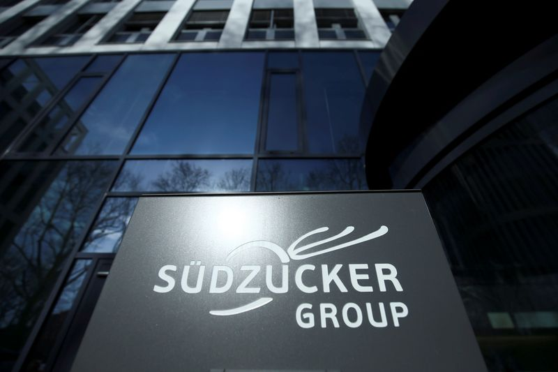 A company logo of Suedzucker Group is pictured at the headquarters in Mannheim
