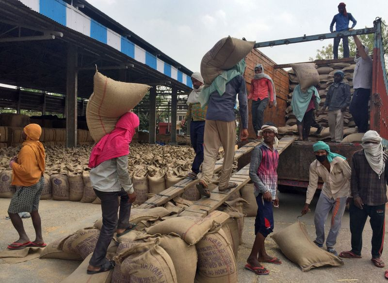 Workers load sacks of wheat onto a supply truck at the Gharaunda Grains Market in Karnal