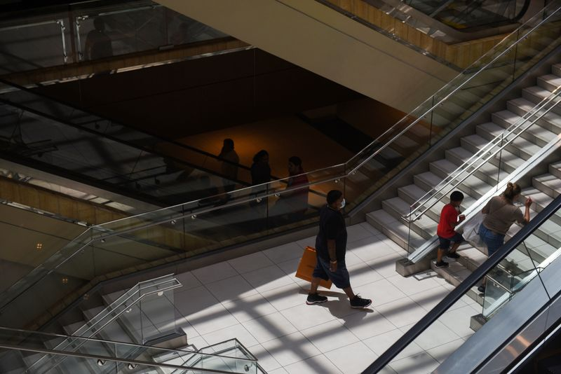 Crowds shop at The Galleria as social distancing guidelines to curb the spread of the coronavirus disease (COVID-19) have been relaxed in Houston