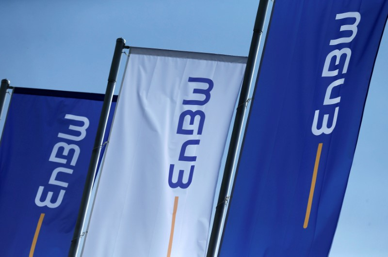 Flags of German power supplier EnBW Energie Baden-Wuertemberg AG are pictured at the company's headquarters in Karlsruhe
