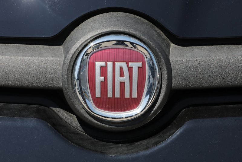 The logo of Fiat carmaker is seen in Nice