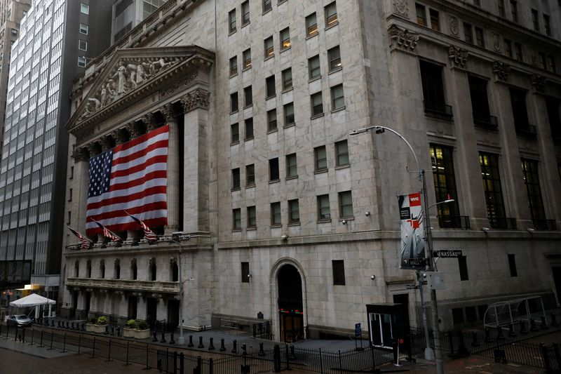 The New York Stock Exchange (NYSE) is seen in the financial district of lower Manhattan during the outbreak of the coronavirus disease (COVID-19) in New York