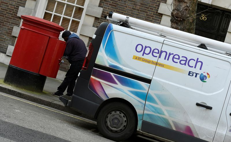 FILE PHOTO: A BT Openreach van is seen parked in central London, Britain