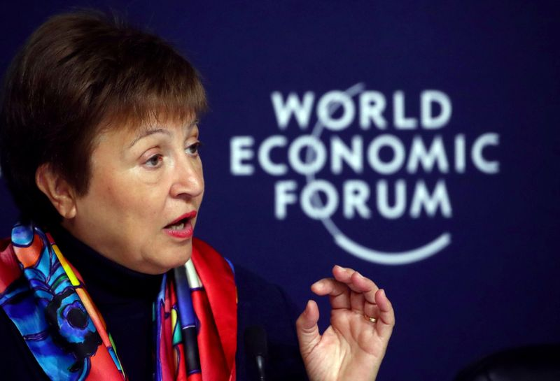 FILE PHOTO: IMF news conference ahead of the World Economic Forum (WEF) in Davos
