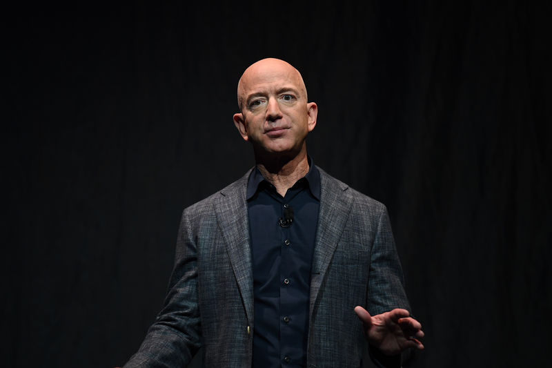 Founder, Chairman, CEO and President of Amazon Jeff Bezos speaks during an event about Blue Origin's space exploration plans in Washington