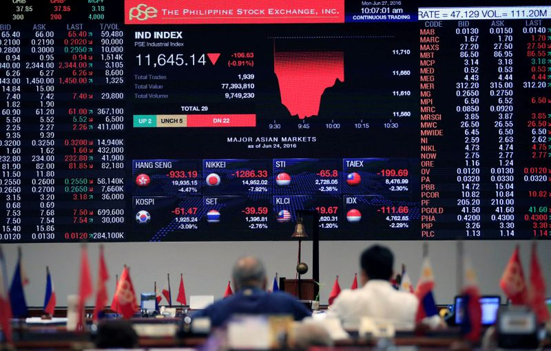 Traders look at the electronic board of the Philippine Stock Exchange in Makati city, Metro Manila
