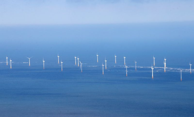FILE PHOTO: Scroby Sands offshore wind farm off of the coast at Great Yarmouth