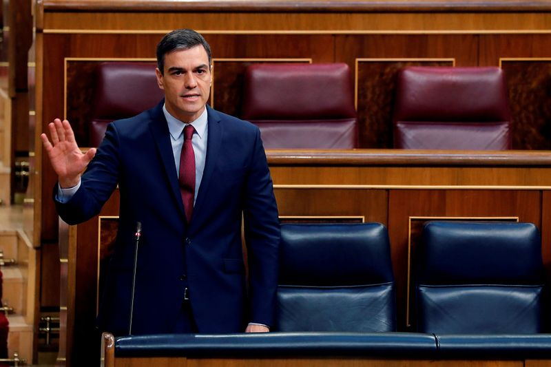 Spanish PM Sanchez attends a plenary session amid the coronavirus disease (COVID-19) outbreak