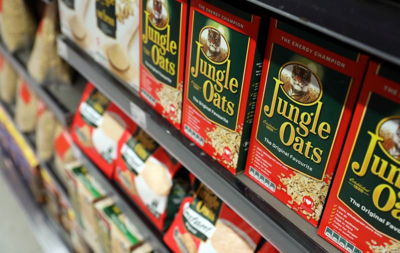 Boxes of Jungle Oats, one of South Africa's Tiger Brands original products, are seen on a shelf  at an outlet of retailer Woolworths in Sandton