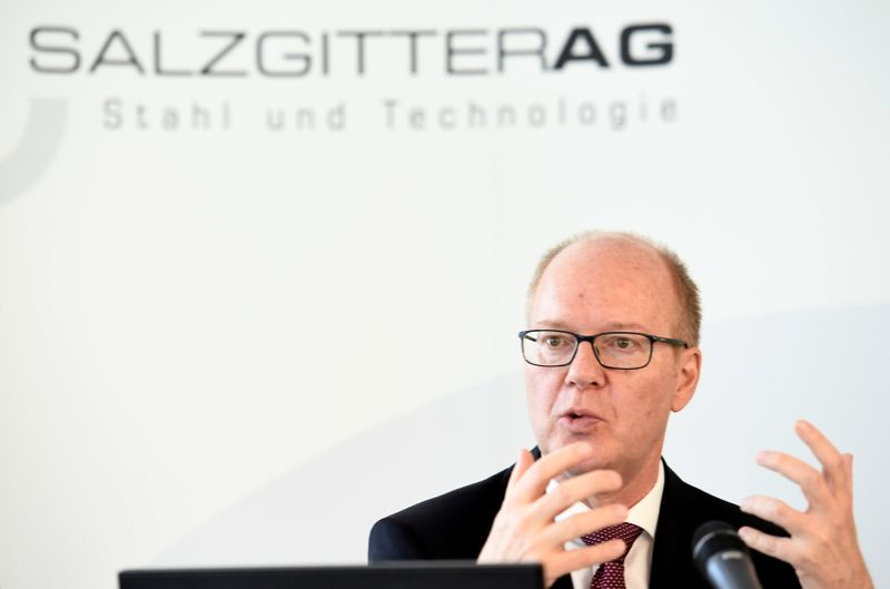 CEO Heinz Joerg Fuhrmann of German steel maker Salzgitter AG speaks to the media  during the annual news conference in Salzgitter