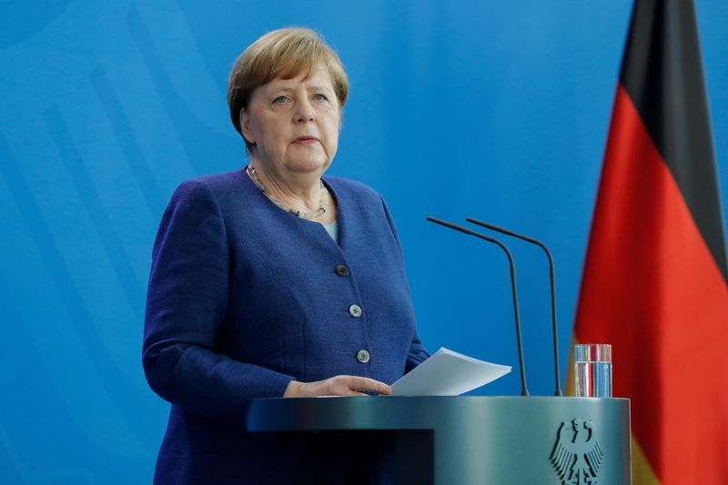 German Chancellor Angela Merkel addresses a news conference in Berlin