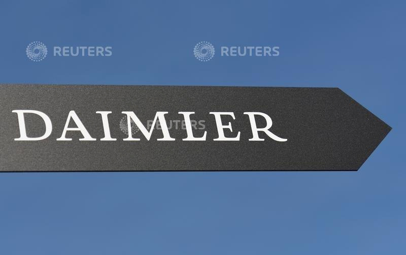 FILE PHOTO: Daimler AG sign is pictured at the IAA truck show in Hanover