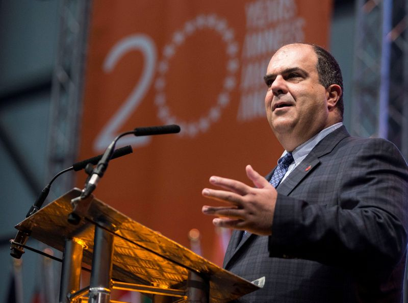 FILE PHOTO: Easyjet founder Stelios Haji-Ioannou speaks at a media event to celebrate 20 years in business at Luton Airport