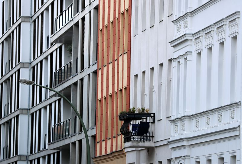 Facades of appartment buildings are pictured at Kreuzberg district in Berlin