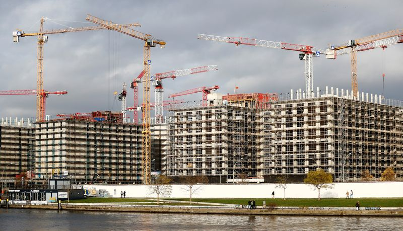 A construction site at the river Spree is pictured in Berlin