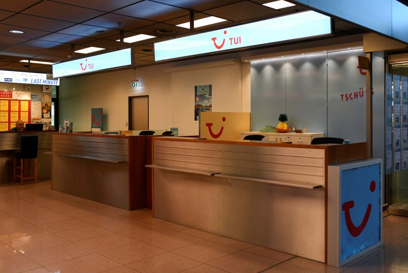 A closed counter of the German travel company TUI is seen at the Helmut-Schmidt-Airport during the outbreak of coronavirus disease (COVID19), in Hamburg