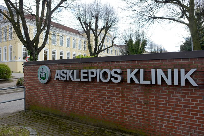 The entrance of the Asklepios hospital is pictured in Hamburg
