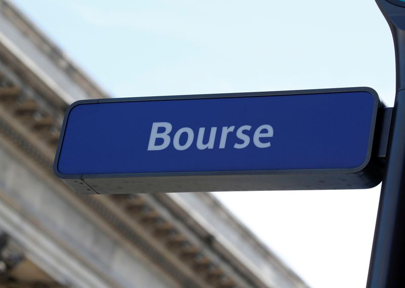 FILE PHOTO: The word Bourse is seen on a sign near the Palais Brongniart, former Paris Stock Exchange, located Place de la Bourse in Paris