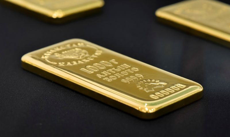 FILE PHOTO: A 1000 gram gold bar is seen at the Kazakhstan's National Bank vault in Almaty