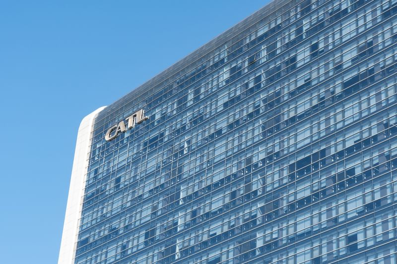 Sign of Chinese battery maker Contemporary Amperex Technology Ltd (CATL) is seen on its building in Ningde