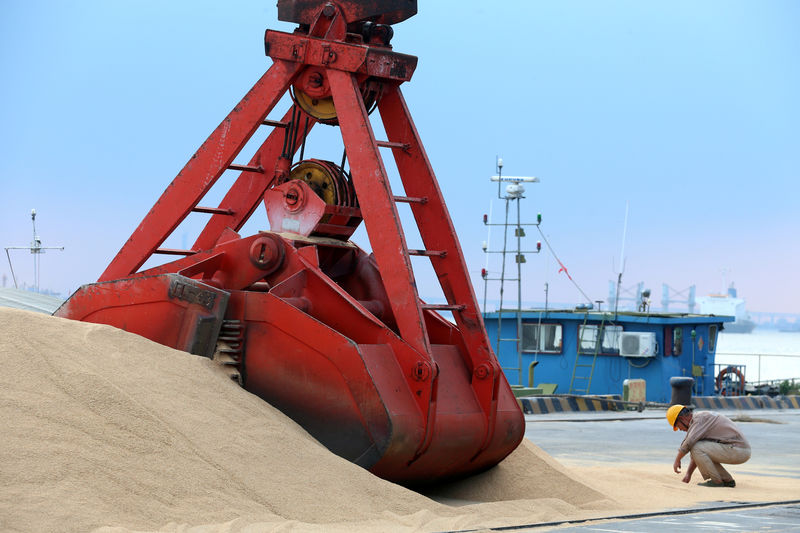 FILE PHOTO: Imported soybeans are transported at a port in Nantong