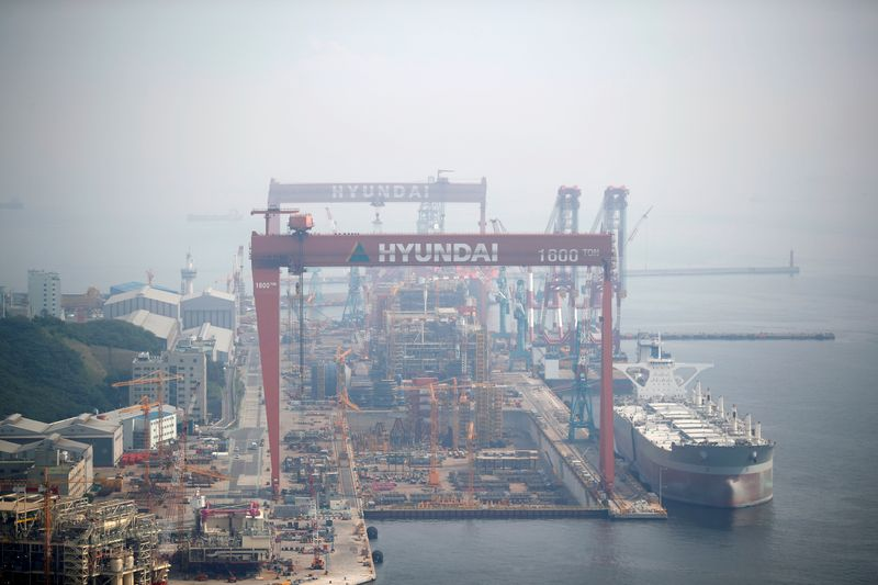Giant cranes of Hyundai Heavy Industries are seen in Ulsan