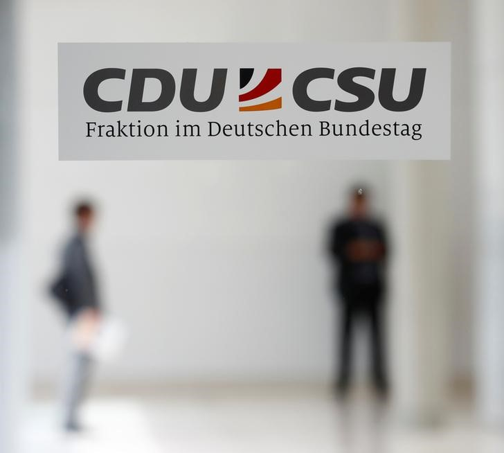 Sign shows the logo of the CDU/CSU faction in Berlin
