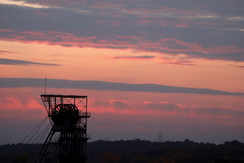 FILE PHOTO: General view of Wujek Coal Mine is seen during sunset in Katowice