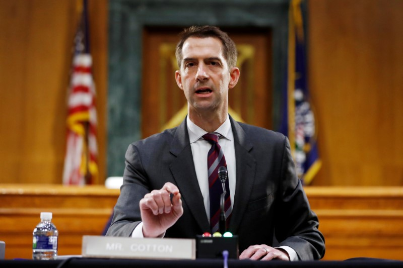 U.S. Sen. Tom Cotton speaks during a Senate Intelligence Committee nomination hearing for Rep. John Ratcliffe, on Capitol Hill in Washington