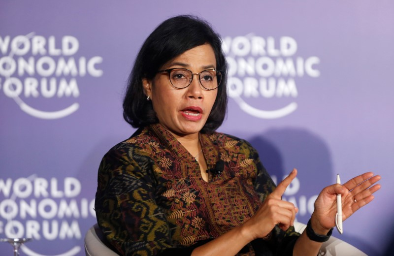 Indonesia's Finance Minister Sri Mulyani Indrawati attends the World Economic Forum on ASEAN at the Convention Center in Hanoi