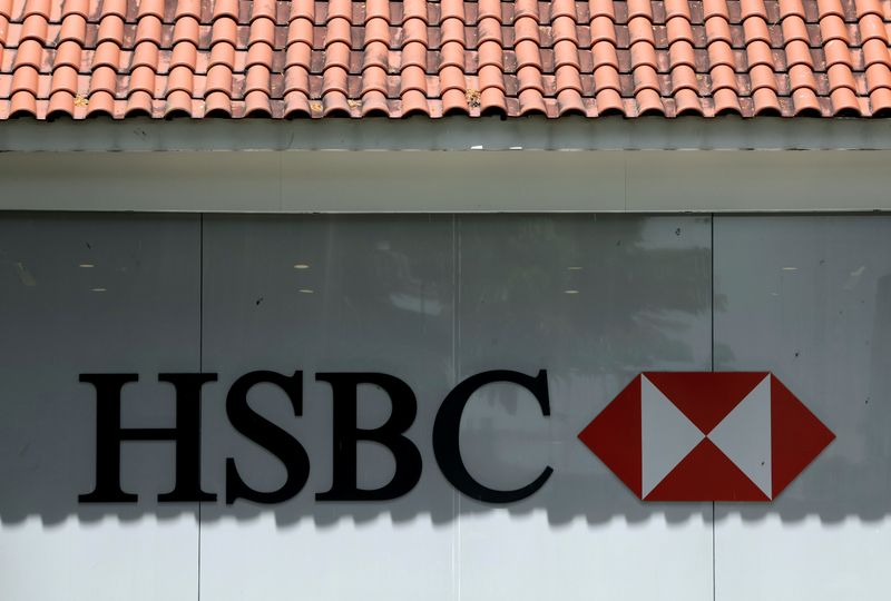 FILE PHOTO: HSBC bank signage is pictured in Singapore