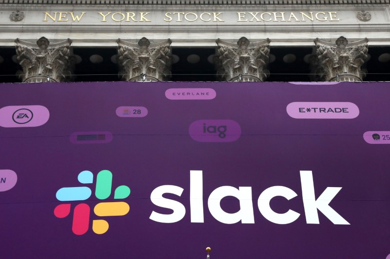 The Slack Technologies Inc. logo is seen on a banner outside the New York Stock Exchange during thew company's IPO in New York