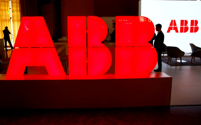 FILE PHOTO: Logo of Swiss power technology and automation group ABB is seen at the Swiss Economic Forum conference in Interlaken