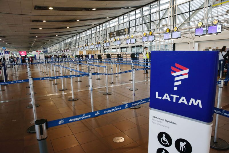 The departures area of Lan airlines is seen empty inside the international airport,  during an indefinite strike of the Cabin Crew Union of LAN Express, a subsidiary of the Chile-based LATAM Airlines group, Santiago.