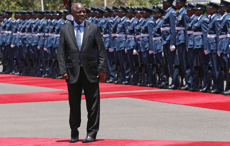 Tanzania's President Magufuli leaves after inspecting a guard of honour during his official visit to Nairobi