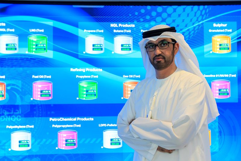 FILE PHOTO: Sultan Ahmed Al Jaber, UAE Minister of State and the Abu Dhabi National Oil Company (ADNOC) Group CEO poses during an interview at the Panorama Digital Command Centre, at the ADNOC headquarters in Abu Dhabi