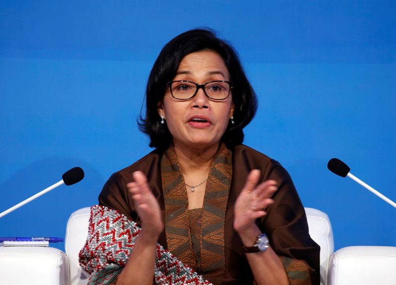 Indonesian Finance Minister Sri Mulyani Indrawati talks during the IMF conference in Jakarta