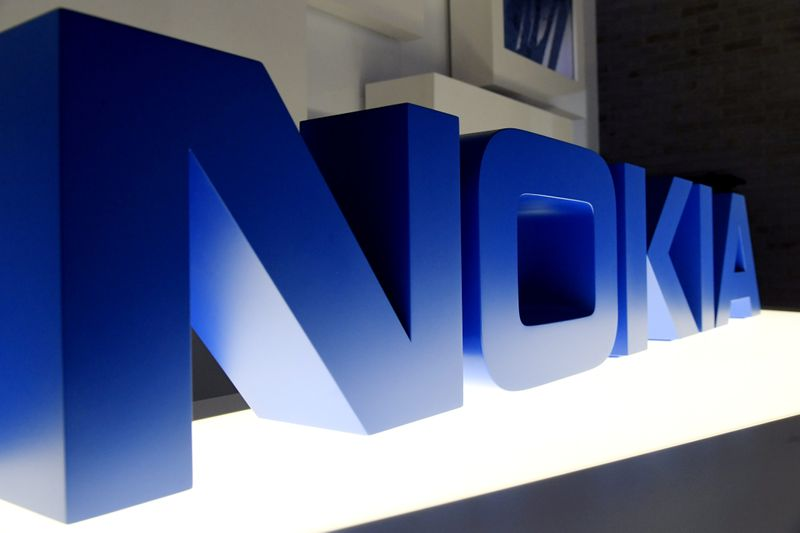FILE PHOTO: The logo of Nokia is seen before the company's news conference in Espoo