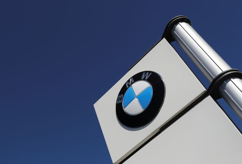 A logo of BMW is seen outside a BMW car dealer, amid the coronavirus disease (COVID-19) outbreak in Brussels