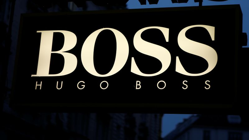 The logo of German fashion company Hugo Boss is seen in Vienna