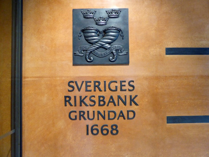 FILE PHOTO: The sign for Sweden's central bank is pictured in Stockholm
