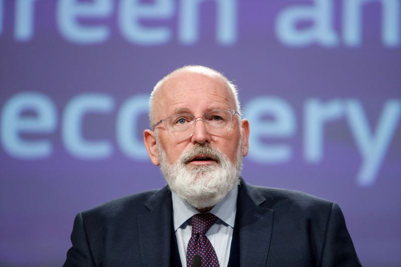 FILE PHOTO: European Commission vice-president in charge of European Green Deal, Frans Timmermans, speaks during a news conference on Green and Just Recovery at the European Commission headquarters in Brussels