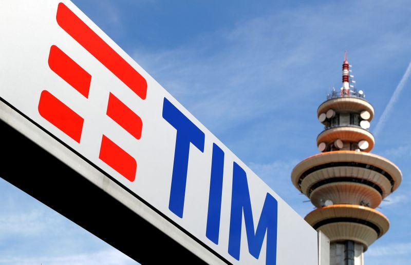 FILE PHOTO: Telecom Italia logo is seen at the headquarter in Rozzano neighbourhood of Milan