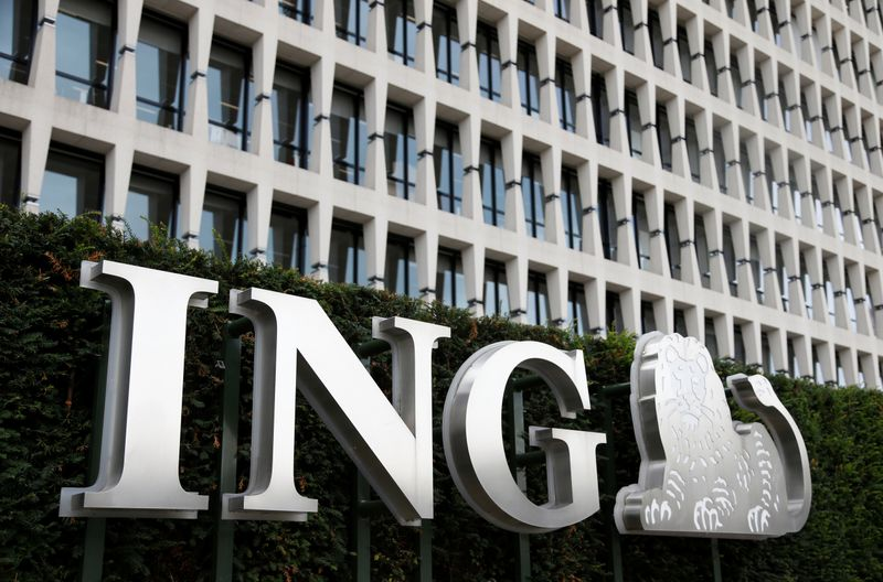 FILE PHOTO: The logo of ING bank is pictured at the entrance of the group's main office in Brussels