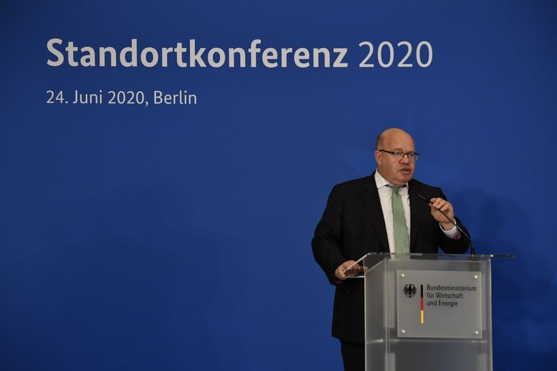 Germany's Federal Economy Minister Peter Altmaier gives a news conference in Berlin