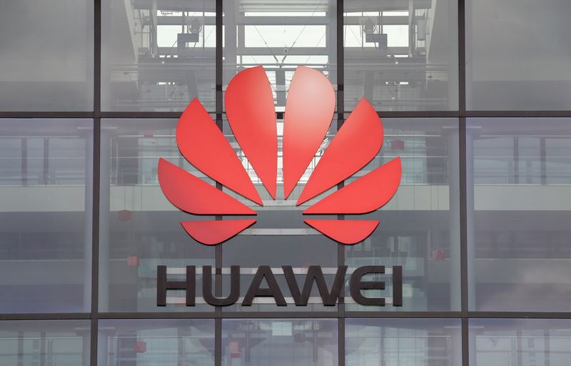 Huawei logo is pictured on the headquarters building in Reading